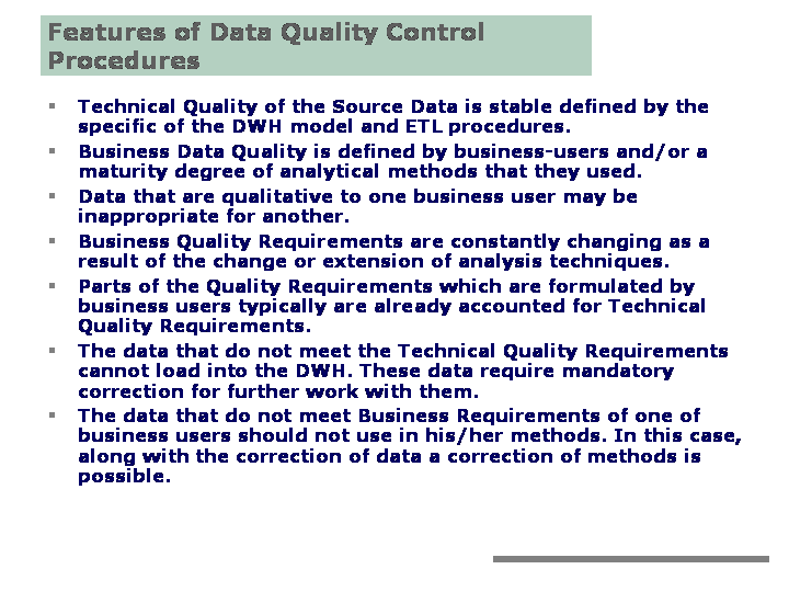 Managing Data Quality In Dwh Implementation Project
